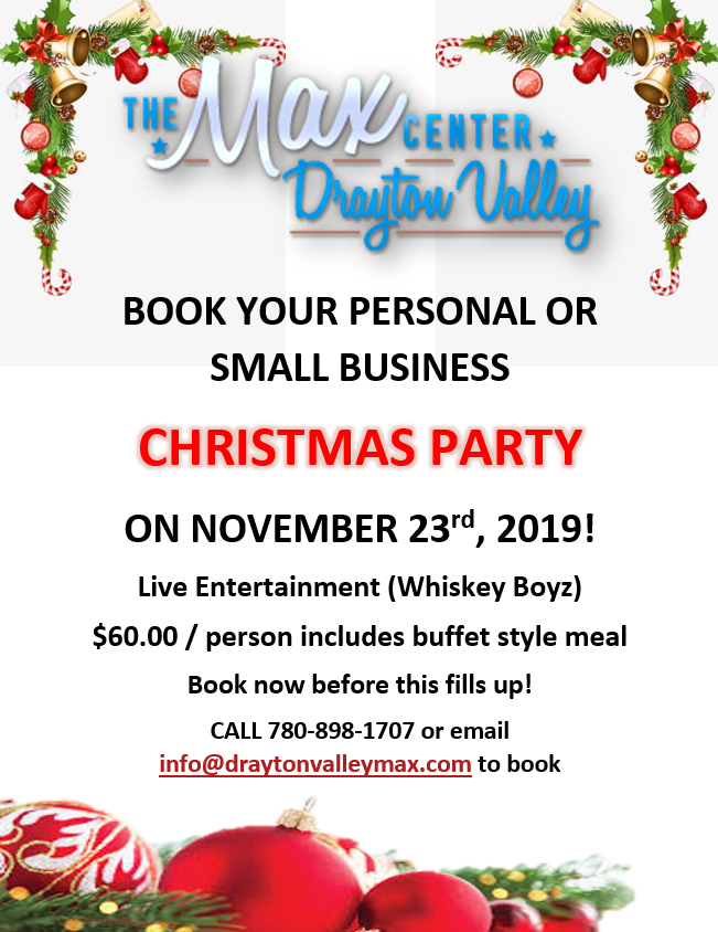 Christmas Party Bookings at the Max Center