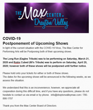 COVID -19 Postponement of Upcoming Shows